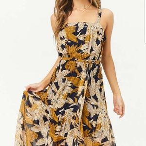 Sheer Leaf Print Maxi Dress